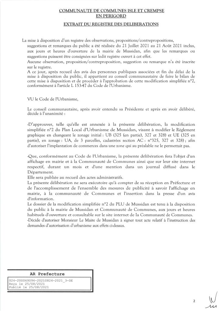 Modification simplifiée n°2 du PLU de Mussidan page 2