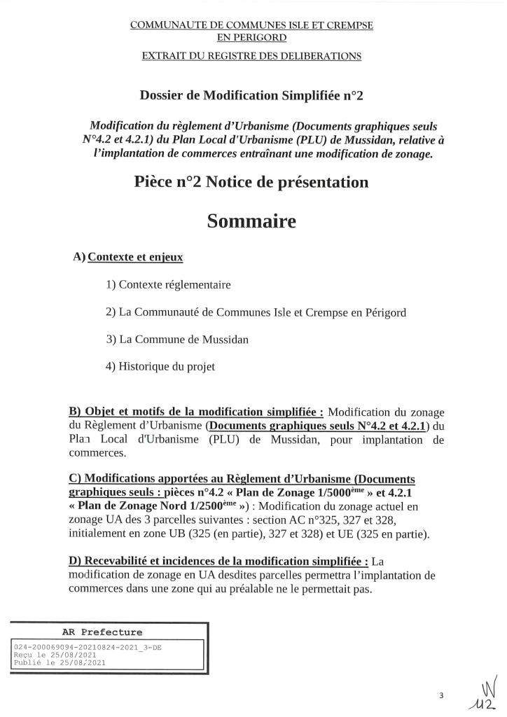 Modification simplifiée n°2 du PLU de Mussidan page 3