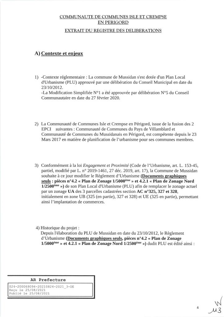 Modification simplifiée n°2 du PLU de Mussidan page 4