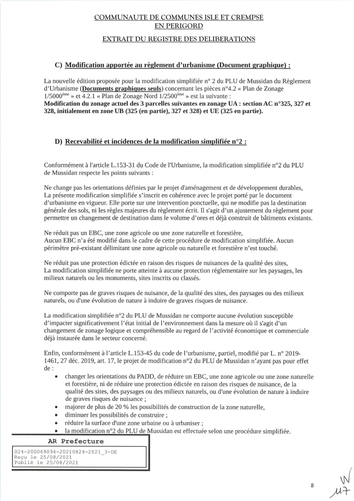 Modification simplifiée n°2 du PLU de Mussidan page 8